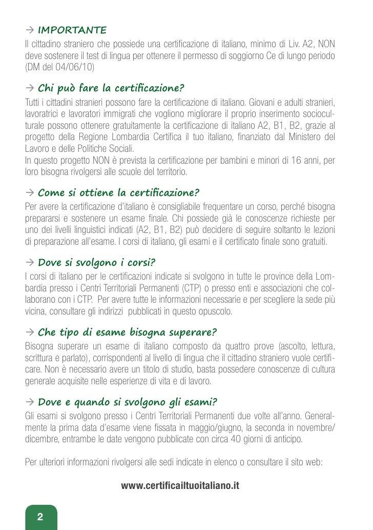 Certifica il tuo italiano for Permesso di soggiorno per motivi di studio