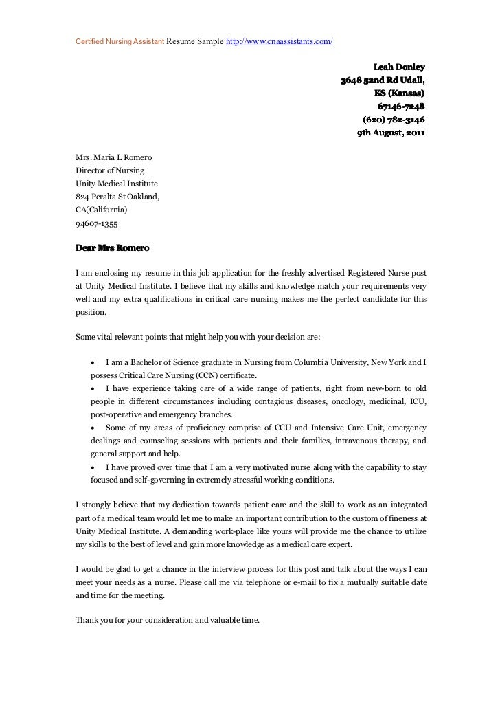 Sample Cover Letter For Resume Nursing Assistant - Professional ...