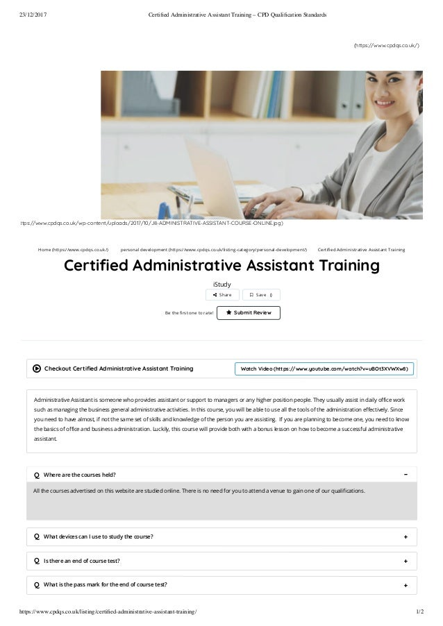 Certified Administrative Assistant Training Cpd Qualification Stand