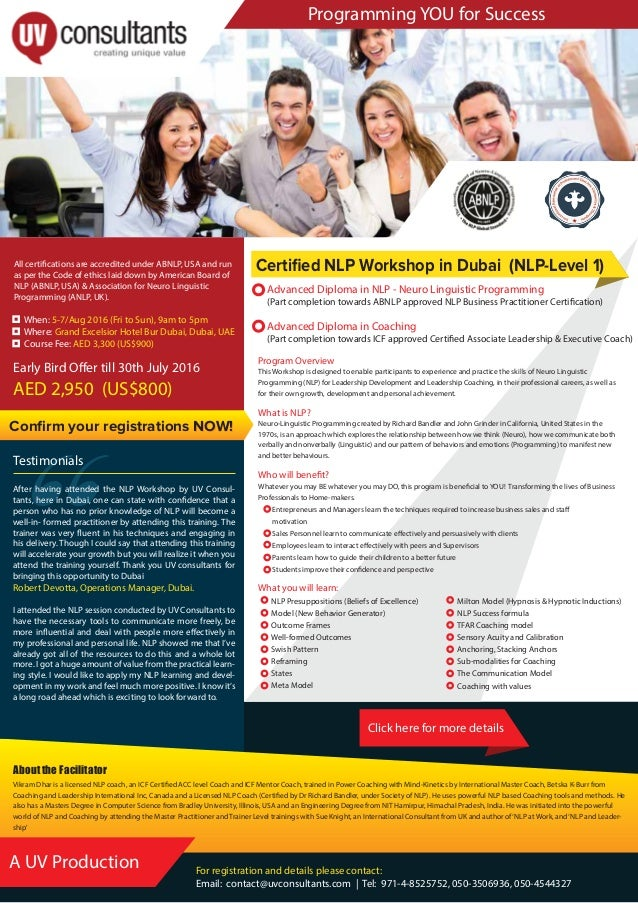 """Programming YOU for Success """" For registration and details please contact: Email: contact@uvconsultants.com   Tel: 971-4-8..."""