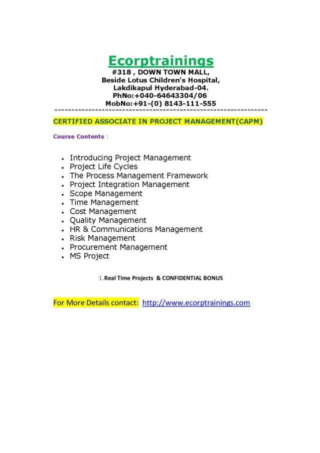 Certified Associate In Project Managementcapm Training In Hyderabad