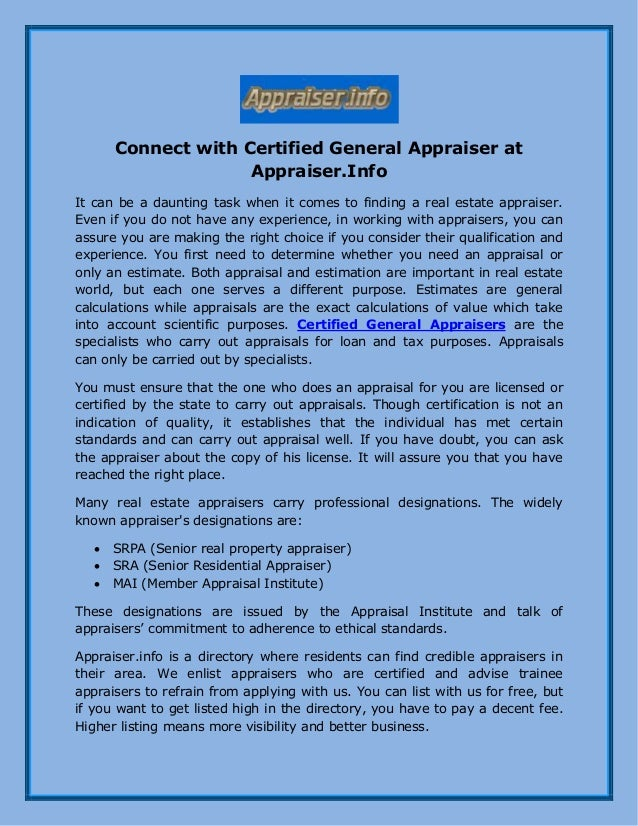 Connect With Certified General Appraiser At Appraiserfo
