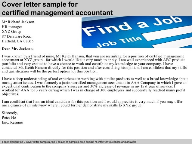 Cover Letter Sample For Certified Management Accountant ...