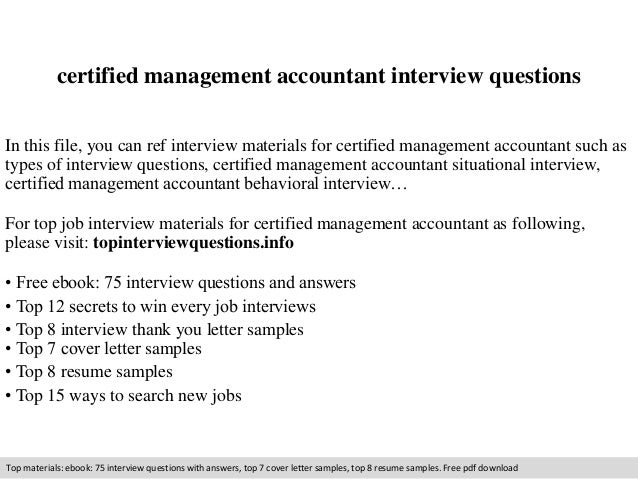 Certified management accountant interview questions