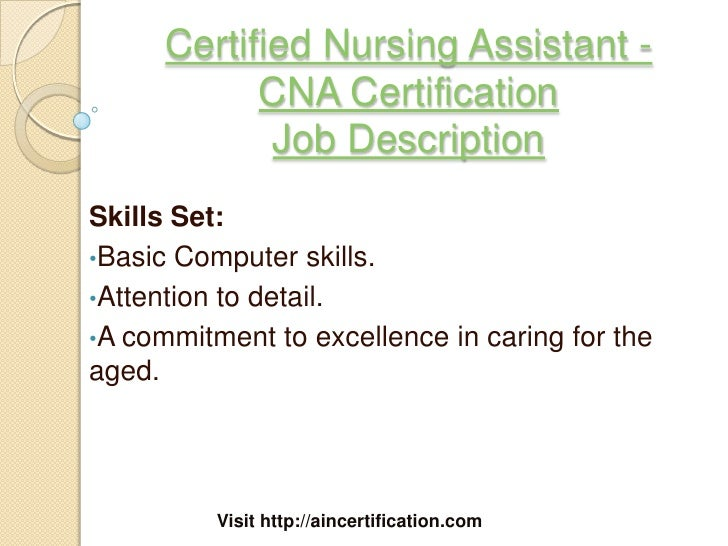 Nursing Assistant Job Description