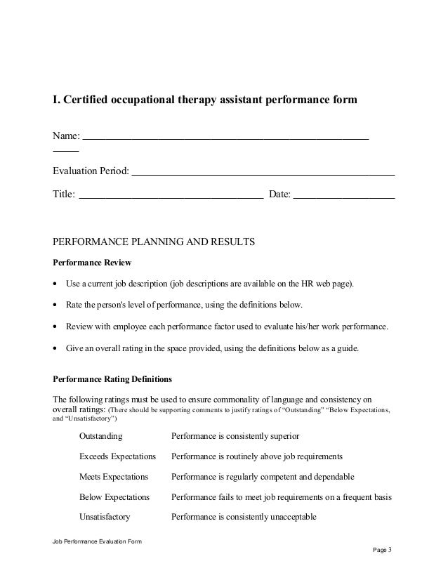 Certified Occupational Therapy Assistant Performance Appraisal