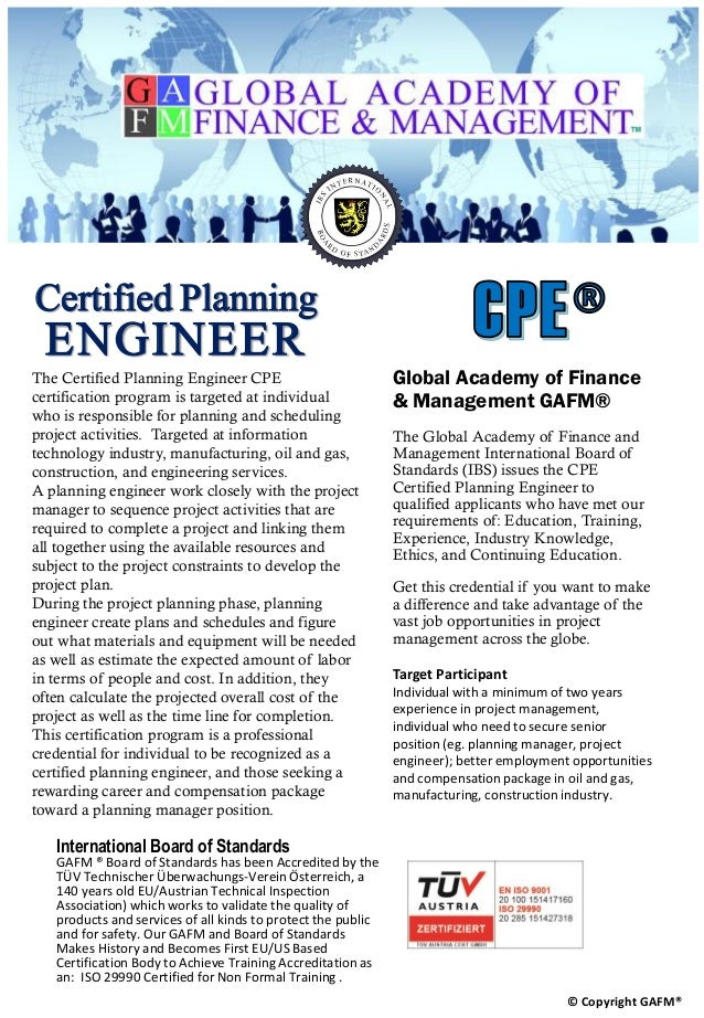 Certified Planning Engineer Cpe