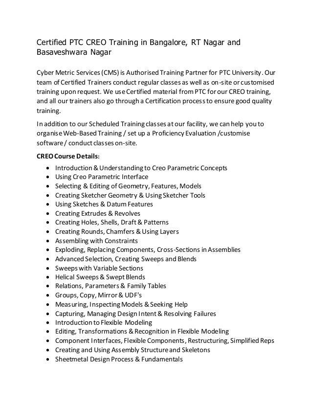 Certified Ptc Creo Training In Bangalore