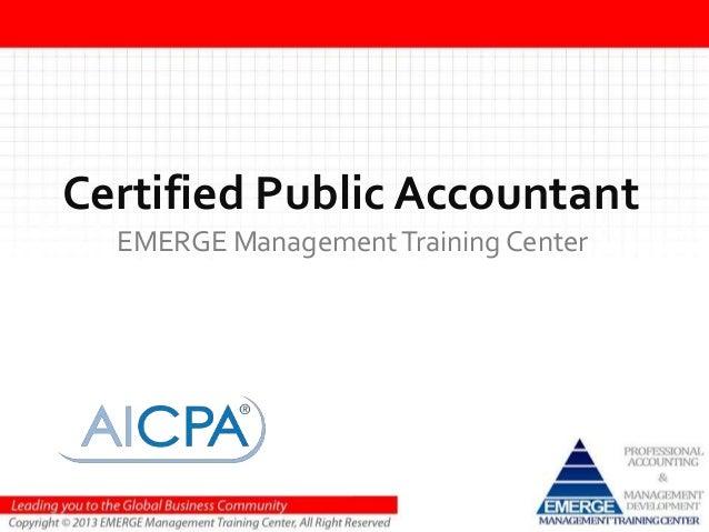 Certified Public AccountantEMERGE ManagementTraining Center
