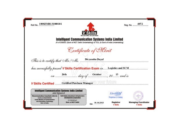 1008ZMB131000101  4072  Divyanshu Dayal  Logistics and SCM 26th  October  Certified Purchase Manager  30.10.2013  13