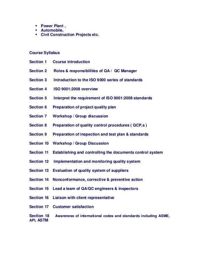  Power Plant ,  Automobile,  Civil Construction Projects etc. Course Syllabus Section 1 Course introduction Section 2 R...