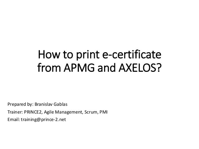 How to download APMG and Axelos certificate PRINCE2