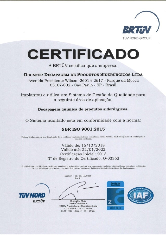 Cert iso 9001 2015 decafer 16.10.2018
