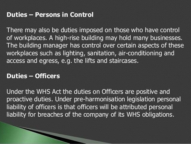 cert iv ohs whs responsibilities and legislative requirements