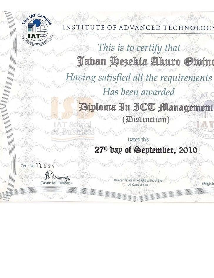 Javan Owino Diploma Certificate