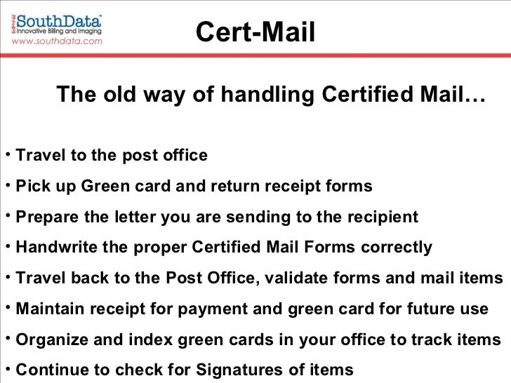 Certified Mail And Electronic Returned Receipt Quit The Labels And