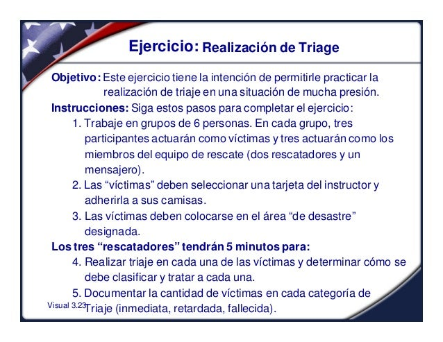 Visual 3.23Ejercicio: Realización de TriageObjetivo: Este ejercicio tiene la intención de permitirle practicar larealizaci...