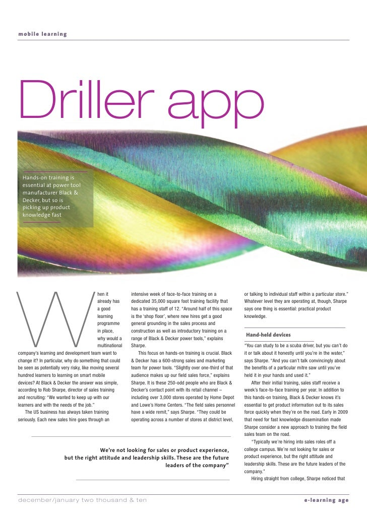 mobile learning     Driller app   Hands-on training is   essential at power tool   manufacturer Black &   Decker, but so i...