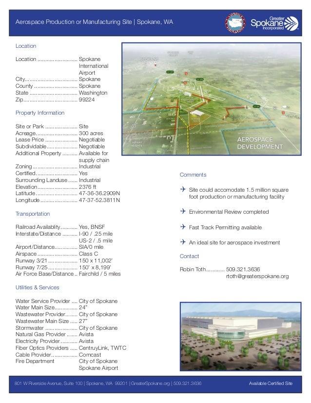 Aerospace Production or Manufacturing Site | Spokane, WA  Location Location........................... Spokane Internatio...