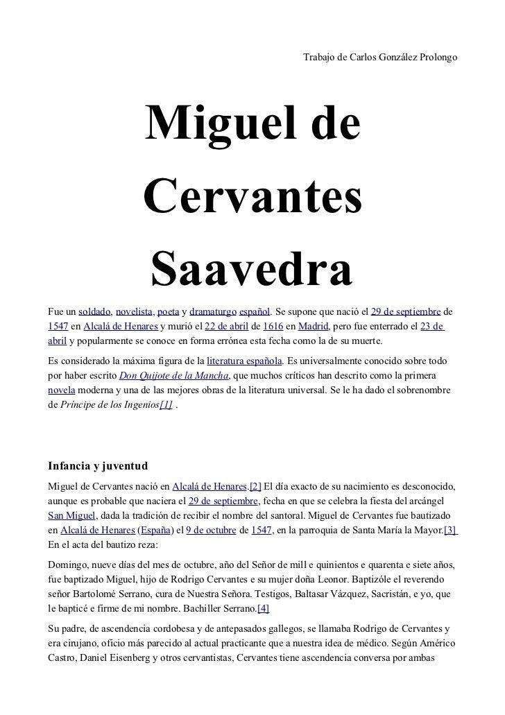 Trabajo de Carlos González Prolongo                      Miguel de                      Cervantes                      Saa...