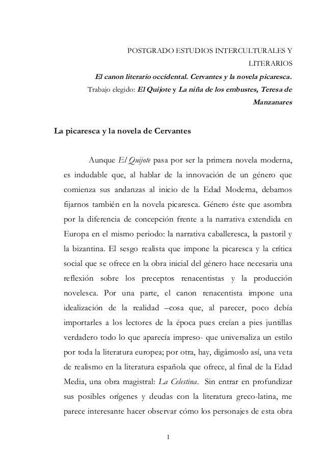 POSTGRADO ESTUDIOS INTERCULTURALES YLITERARIOSEl canon literario occidental. Cervantes y la novela picaresca.Trabajo elegi...
