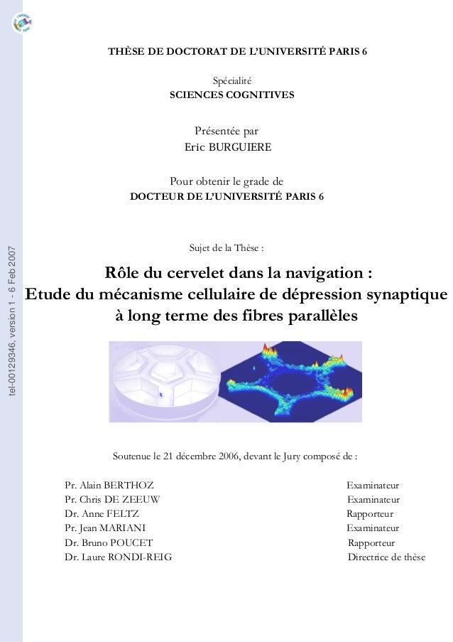 THÈSE DE DOCTORAT DE L'UNIVERSITÉ PARIS 6 Spécialité SCIENCES COGNITIVES Présentée par Eric BURGUIERE Pour obtenir le grad...