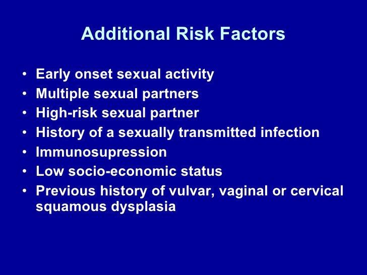 Additional Risk Factors <ul><li>Early onset sexual activity </li></ul><ul><li>Multiple sexual partners </li></ul><ul><li>H...