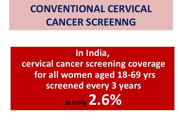 CONVENTIONAL CERVICAL CANCER SCREENNG In India, cervical cancer screening coverage for all women aged 18-69 yrs screened e...