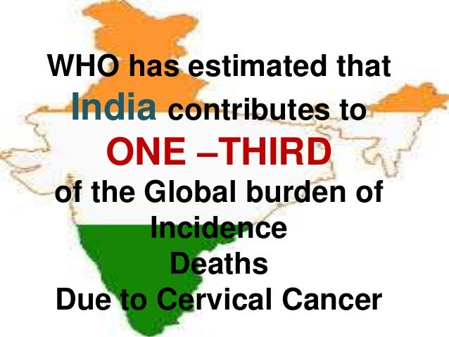 WHO has estimated that India contributes to ONE –THIRD of the Global burden of Incidence Deaths Due to Cervical Cancer