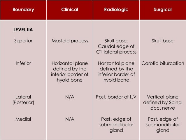 LEVEL IV  Contains Lower Jugular LN's Group  Located around lower third of IJV  Extent  Superiorly – Junction of Omohy...