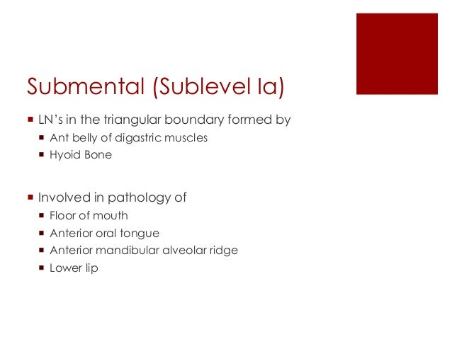 Submandibular (Sublevel Ib)  LN's in the triangular boundary formed by  Ant belly of digastric muscle  Stylohyoid & Pos...