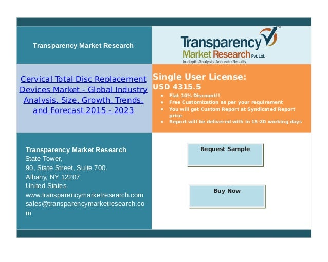 Transparency Market Research Cervical Total Disc Replacement Devices Market - Global Industry Analysis, Size, Growth, Tren...