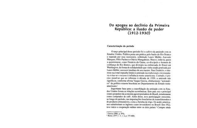 Cervo e bueno - Do apogeu ao declínio da primeira república (1912-1930)