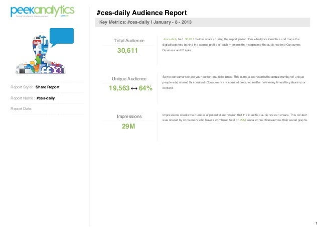 #ces-daily Audience Report                             Key Metrics: #ces-daily | January - 8 - 2013                       ...
