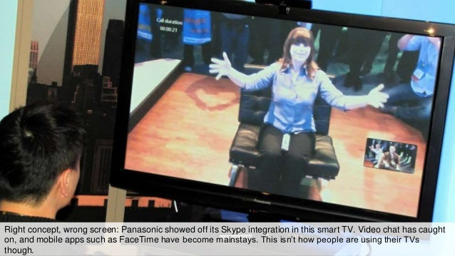 Right concept, wrong screen: Panasonic showed off its Skype integration in this smart TV. Video chat has caught on, and mo...