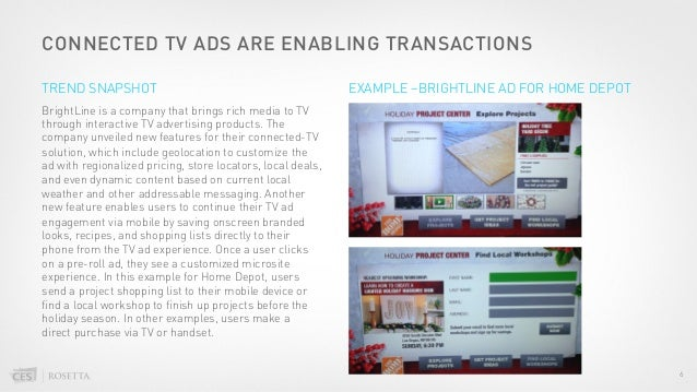 CONNECTED TV ADS ARE ENABLING TRANSACTIONS BrightLine is a company that brings rich media to TV through interactive TV adv...