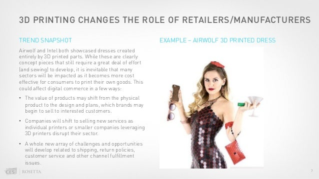 3D PRINTING CHANGES THE ROLE OF RETAILERS/MANUFACTURERS Airwolf and Intel both showcased dresses created entirely by 3D pr...