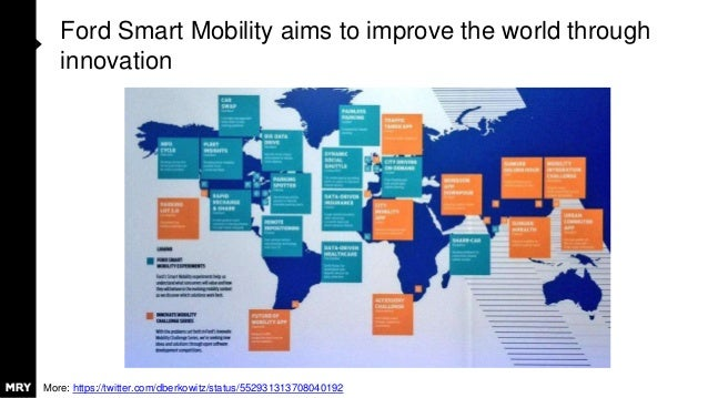 Ford Smart Mobility aims to improve the world through innovation More: https://twitter.com/dberkowitz/status/5529313137080...