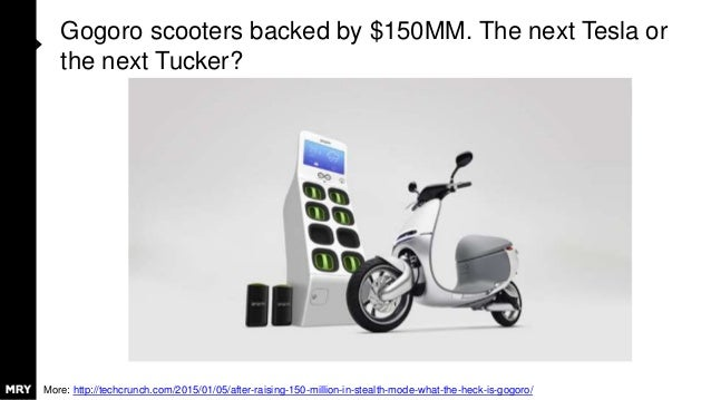 Gogoro scooters backed by $150MM. The next Tesla or the next Tucker? More: http://techcrunch.com/2015/01/05/after-raising-...