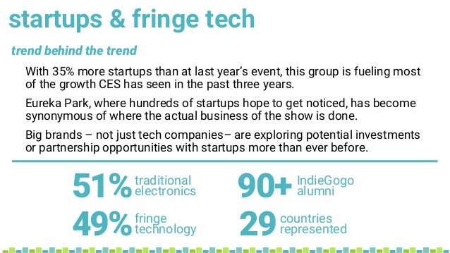 startups & fringe tech With 35% more startups than at last year's event, this group is fueling most of the growth CES has ...