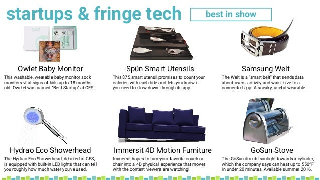 startups & fringe tech Hydrao Eco Showerhead Immersit 4D Motion Furniture GoSun Stove best in show Owlet Baby Monitor Spün...