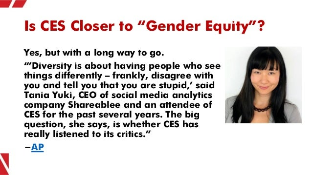 """Is CES Closer to """"Gender Equity""""? Yes, but with a long way to go. """"'Diversity is about having people who see things differ..."""