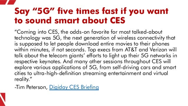 """Say """"5G"""" five times fast if you want to sound smart about CES """"Coming into CES, the odds-on favorite for most talked-about..."""