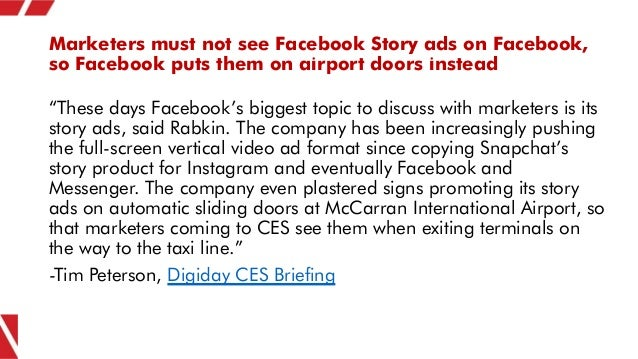 """Marketers must not see Facebook Story ads on Facebook, so Facebook puts them on airport doors instead """"These days Facebook..."""