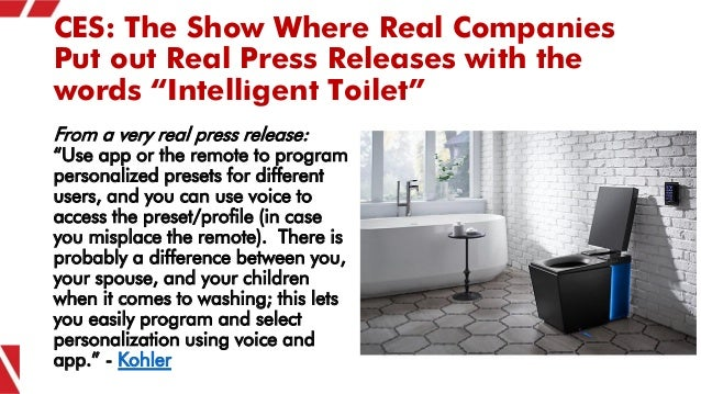 """CES: The Show Where Real Companies Put out Real Press Releases with the words """"Intelligent Toilet"""" From a very real press ..."""