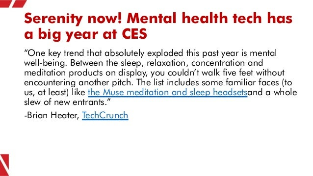 """Serenity now! Mental health tech has a big year at CES """"One key trend that absolutely exploded this past year is mental we..."""