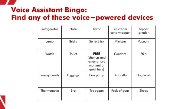Voice Assistant Bingo: Find any of these voice-powered devices Refrigerator Hose Razor Ice cream cone wrapper Pepper grind...