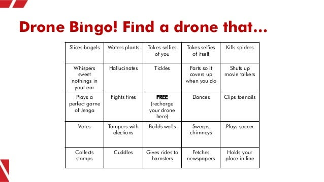 Drone Bingo! Find a drone that… Slices bagels Waters plants Takes selfies of you Takes selfies of itself Kills spiders Whi...