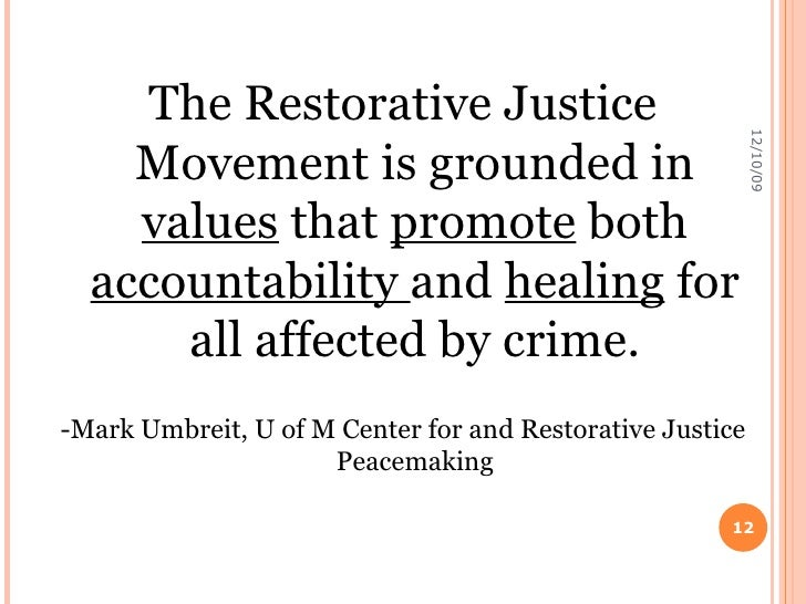 restorative justice essays Essays - largest database of quality sample essays and research papers on restorative justice.