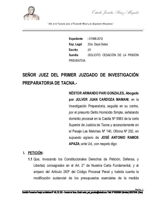 """Estudio Jurídico Pari& Abogados """"Año de la Inversión para el Desarrollo Rural y la Seguridad Alimentaria""""  Expediente  : 0..."""